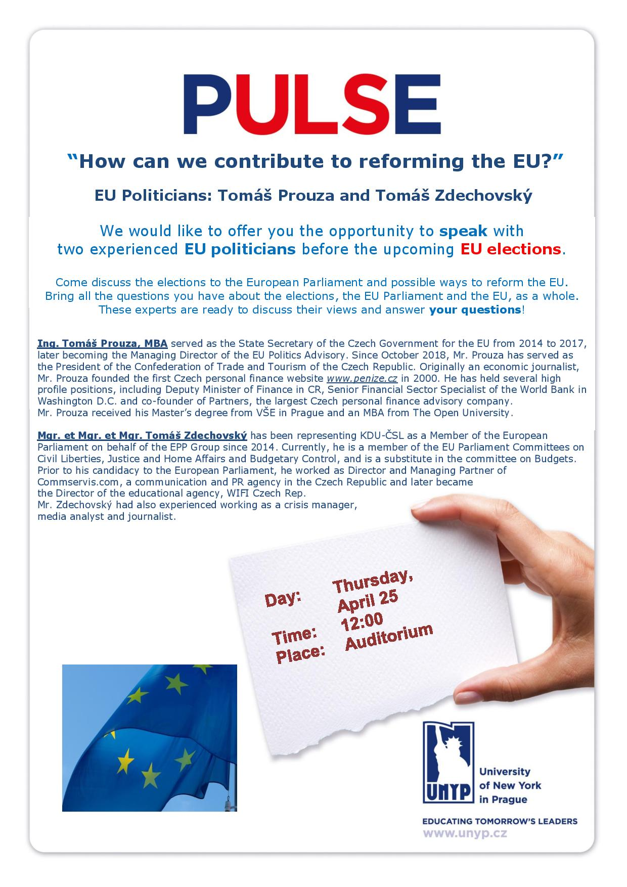 PULSE lecture - How can we contribute to reforming the EU? 25.4.19, 12:00