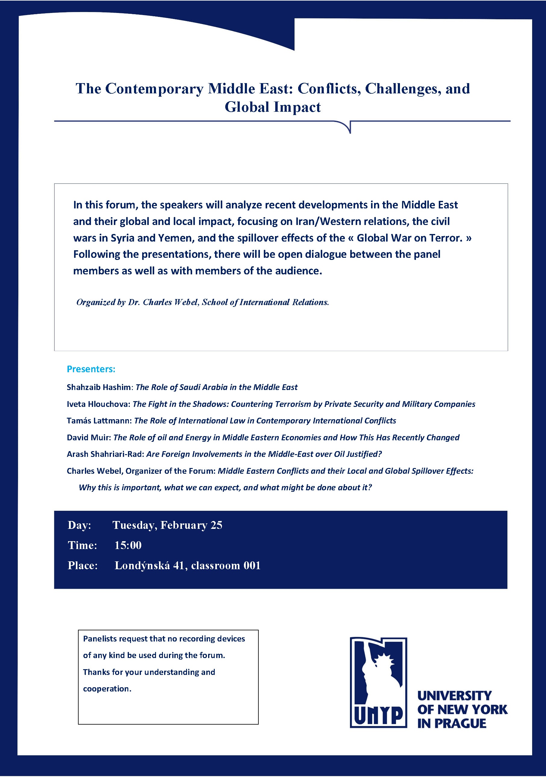 Forum on the Contemporary Middle East, Tue, Feb 25, 3pm, 001