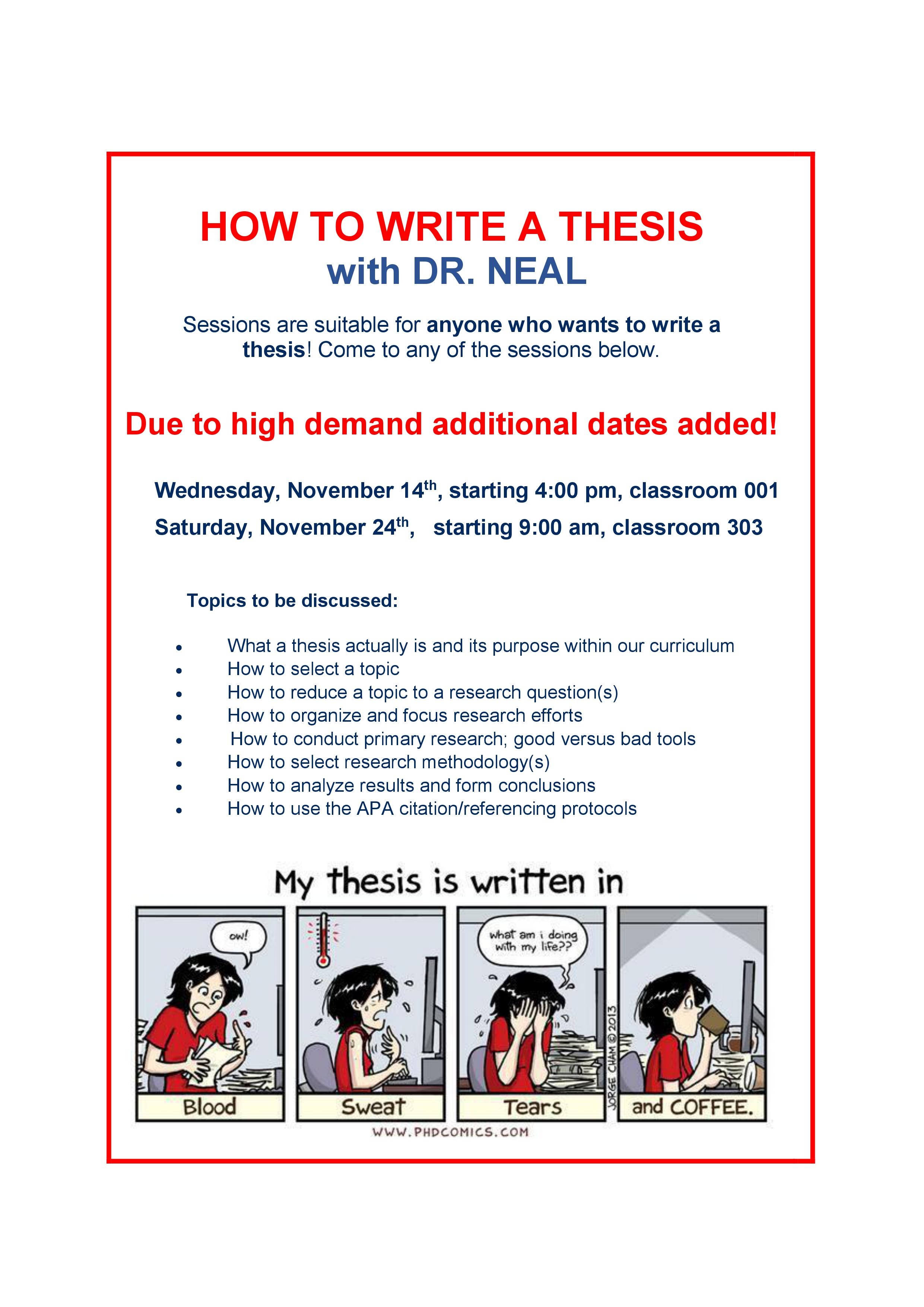 How to write a thesis - new sessions added Nov 14, 16:00, 001 and Nov 24, 9:00, 303